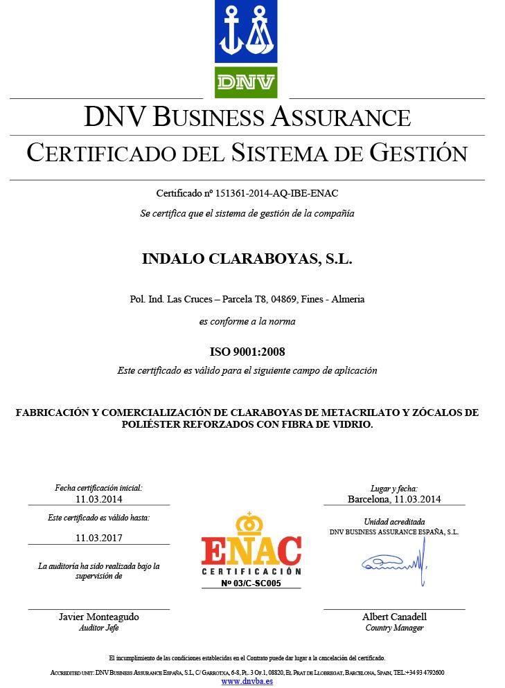 Certificado de Calidad - IndaloClaraboyas.com